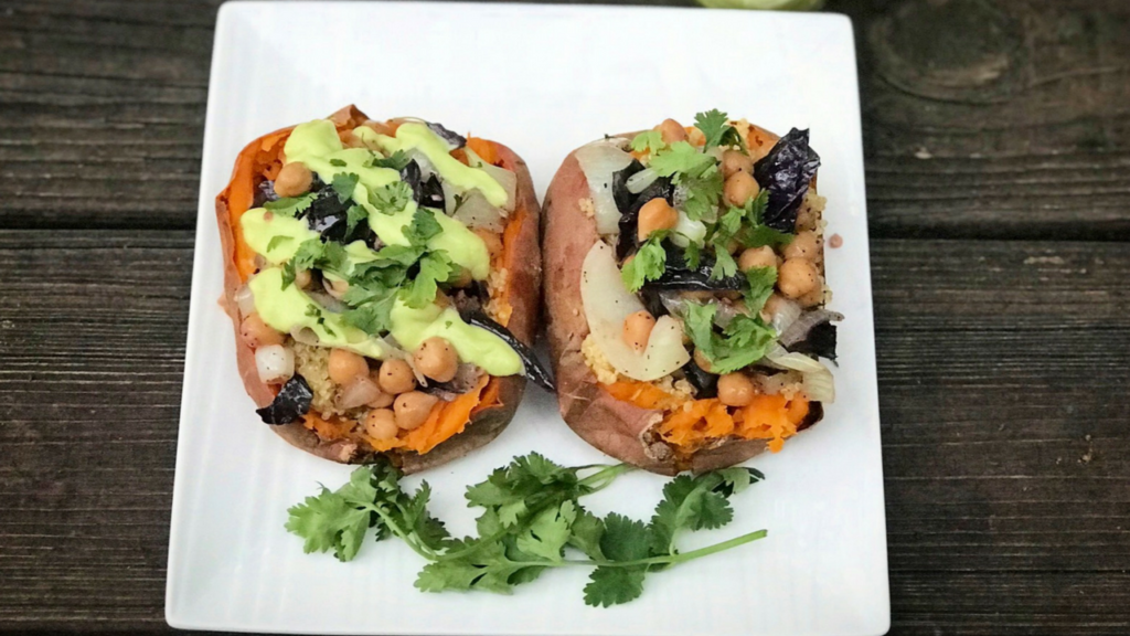 #MeatlessMonday: Loaded Sweet Potatoes With Chickpeas And Purple Cabbage