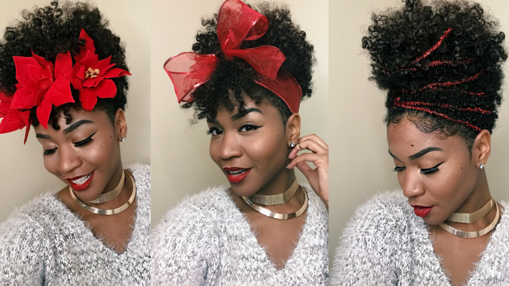 Accessorizing Natural Hair With Simple Holiday Decor